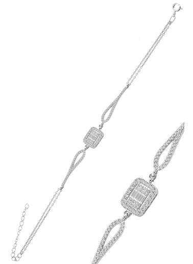 Söğütlü Silver Gümüş Rodyumlu Zirkon Baget Taşlı Bilekl Gümüş